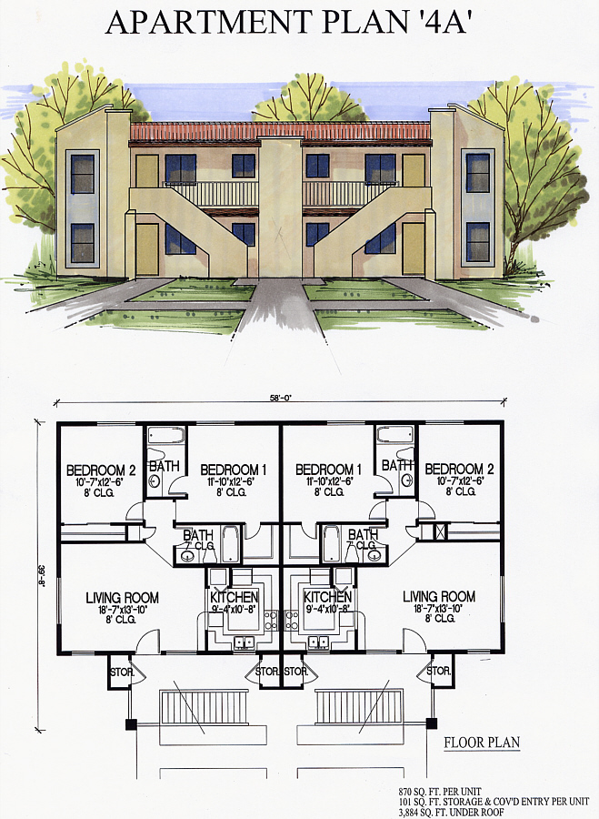 ordinary 4 plex apartment plans #7: Plan 4 A. Apartment ...